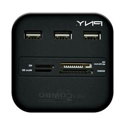 PNY Black Memory Card Reader and USB Hub Combo 3inx3in